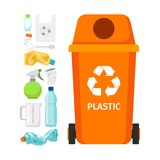 Orange garbage can with plastic. Garbage elements, vector illustration Stock Photography