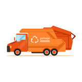 Orange garbage collector truck, waste recycling and utilization concept vector Illustration. On a white background Royalty Free Stock Photo