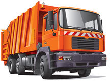 Orange garbage truck. Detail vector image of modern garbage truck, isolated on white background. File contains gradients and transparency. No blends and strokes Stock Photos