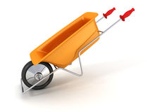Orange garden wheelbarrow on white background Stock Image