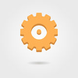 Orange gear icon with shadow Royalty Free Stock Images