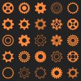 Orange gear wheel icons Royalty Free Stock Photos