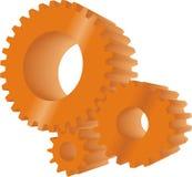 Orange gears. Set of three orange working gears Stock Images