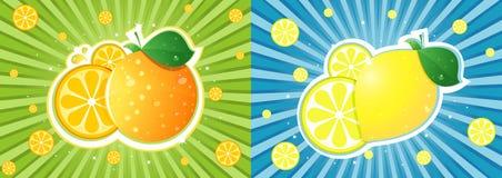 Orange gegen Zitrone Lizenzfreies Stockbild