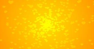 Orange gelber Hintergrund mit wenig Herzen Animation rundes bokeh vektor abbildung