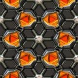 Orange gems. Illustration of metal encrusted orange precious stones Royalty Free Stock Images