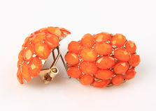 Orange Gemstone Earrings Stock Image
