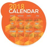 2018 Orange Geometric Round Shape Printable Calendar Starts Sunday Stock Photos