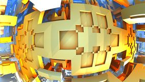 Orange geometric shapes floating in space. 3D Labyrinth or Maze Stock Images