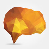 Orange geometric speech bubble with triangular polygons Stock Images