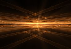 Orange Geometrical Horizon With Rays Of Light. Fiery cubic geometrical horizon  with rays of light, on black background, abstract illustration Royalty Free Stock Image
