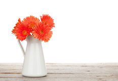 Orange gerbera flowers in pitcher. On wooden table. Isolated on white background Royalty Free Stock Photos
