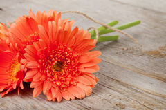 Orange gerbera flowers on wooden background Royalty Free Stock Photos
