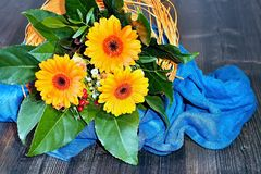 Orange gerberas in a beautiful small bouquet. Orange gerberas in a beautiful small bouquet to light blue tablecloth Stock Photo