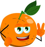 Orange gesturing the peace sign Royalty Free Stock Image