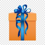 Orange gift box with a blue ribbon icon flat style Royalty Free Stock Images