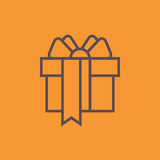 Orange Gift Box with a Bow or Present Vector Icon Isolated Stock Photos