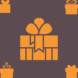 Orange Gift Box with a Bow or Present Vector Icon Isolated Stock Images