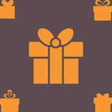 Orange Gift Box with a Bow or Present Vector Icon Isolated Stock Photography