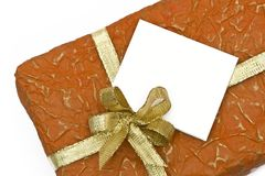 Orange gift box and congratulatory card Stock Photo