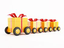 Orange gift box convoy on wheels Royalty Free Stock Photo