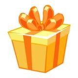 Orange gift box. Isolated illustration on white background Royalty Free Stock Image