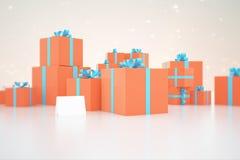 Orange gift boxes Stock Photos