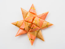 Orange gift star bows with ribbons Stock Photo