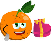 Orange with gift for Valentines Day Stock Images