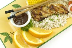 Orange Ginger Glazed Grilled Chicken Breast Royalty Free Stock Photo