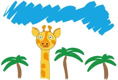 The orange giraffe and palms tree and blue sky, vector illustration, pencil drawing Royalty Free Stock Photo