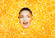 Orange girl Royalty Free Stock Images