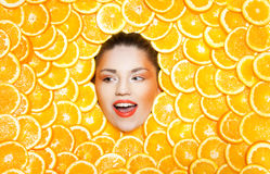 Orange girl Stock Photos