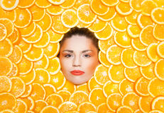 Orange girl Stock Photo