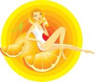 Orange girl. Illustration of a beautiful girl sitting on a big orange vector illustration
