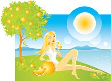 Orange girl. Illustration of a cute young blonde woman lying on the bank under the orange tree with a glass of juice Stock Illustration