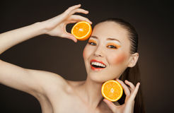 Orange girl Royalty Free Stock Photography