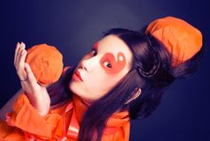 Orange girl. Royalty Free Stock Photo