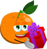 Orange giving you a gift box Royalty Free Stock Photography