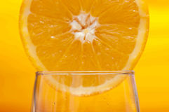 Orange on the glass Royalty Free Stock Photo