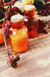 Orange glass bottles with salt and oil for the spa Stock Photo