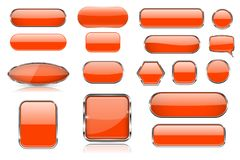 Orange glass buttons. Collection of 3d icons with and without chrome frame. Vector illustration isolated on white background royalty free illustration