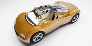 Orange glass top sports car. Orange luxurious sports car with a transparent roof vector illustration