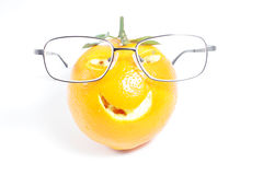 Orange with glasse Stock Photo