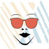 Orange glasses and a woman Royalty Free Stock Photo