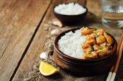 Orange glaze chicken with rice Stock Photo