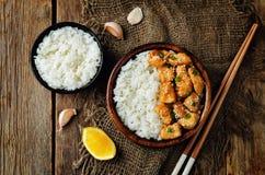 Orange glaze chicken with rice Royalty Free Stock Image