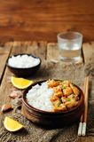 Orange glaze chicken with rice Royalty Free Stock Photo