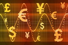 Orange Global Currency Business Abstract. Background Wallpaper Stock Photography