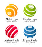 Orange global logo template, green circular simple logotype, red abstract circle company sign, blue stripped round shape Royalty Free Stock Image